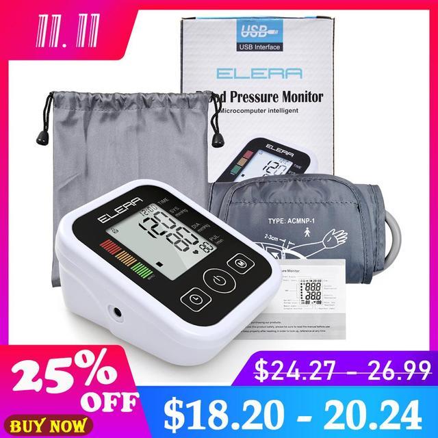 ELERA Arm Blood Pressure Monitor Digital Portable Heart Blood Pressure Meter for Measuring Automatic sphygmomanometer tonometer