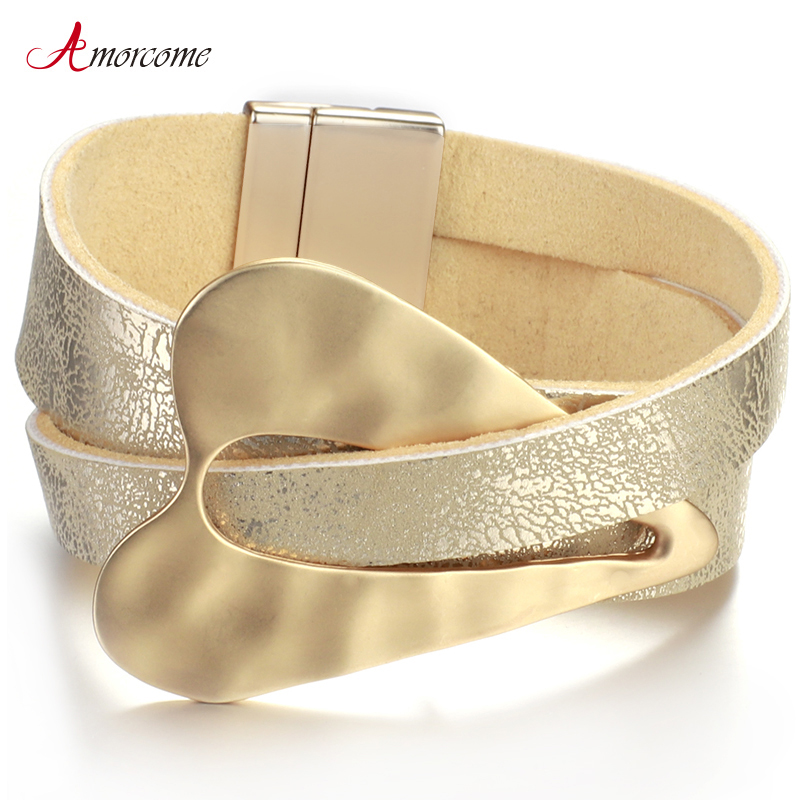 Amorcome Champagne Gold Metal Heart Charm Leather Bracelets for Women Fashion Wide Wrap Bracelet Female Jewelry Couple Gifts