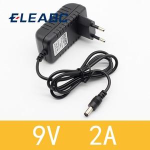 1PCS High quality AC/DC 9V 2A Switching Power Supply adapter Reverse Polarity Negative Inside EU plug 5.5mm x 2.1mm-2.5mm