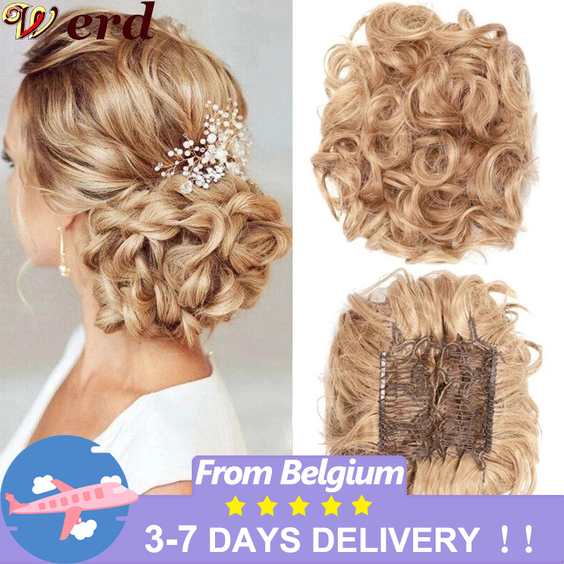WERD Synthetic Updos Curly Pieces Chignon Clip On Hair Bun Cover Hairpieces Extension Clip In Hair Bands Gray Bromn Retro Style