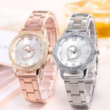 Женские модные часы из нержавеющей стали с ремешком, аналоговые кварцевые круглые наручные часы, элегантные вечерние часы с бриллиантами, подарок, часы женски 03