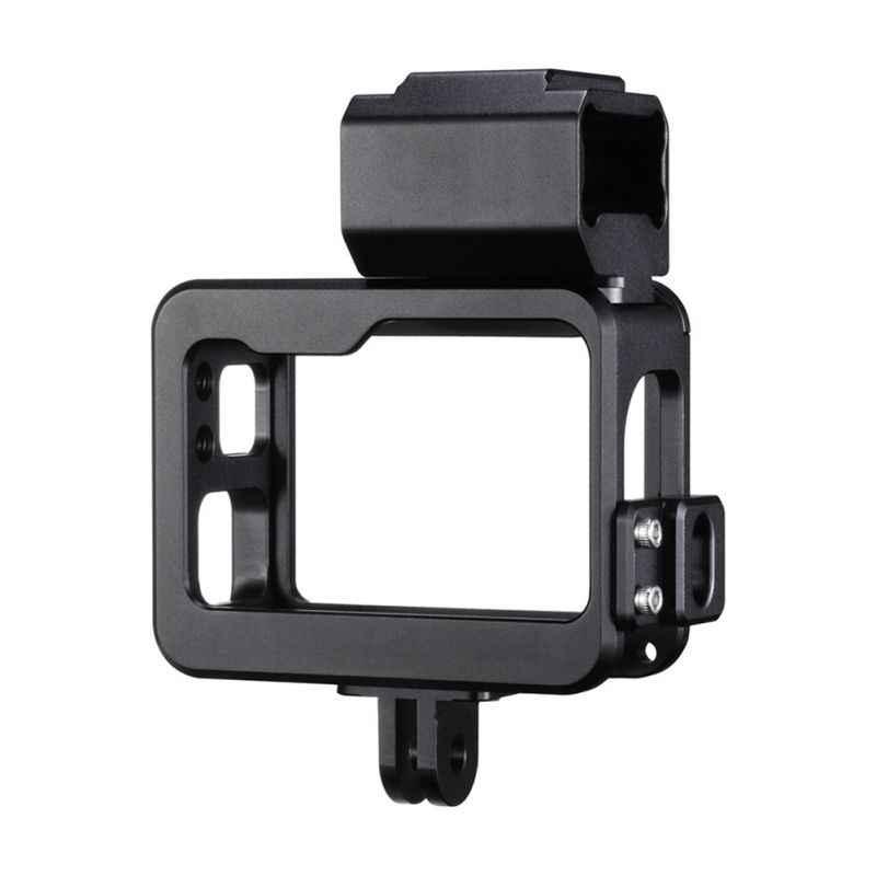 المعادن كاميرا تسجيل قفص أرانب ل Gopro 7 مع المزدوج الباردة حذاء تصميم ميكروفون محول Mic كابل كليب أسود