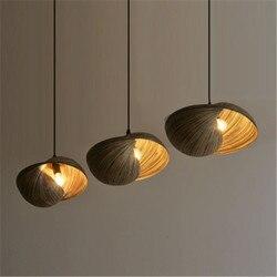 Chiński styl bambusowa pleciona lampa pojedynczy klosz żyłka żyrandol osobowość twórcza restauracja Shell mały żyrandol