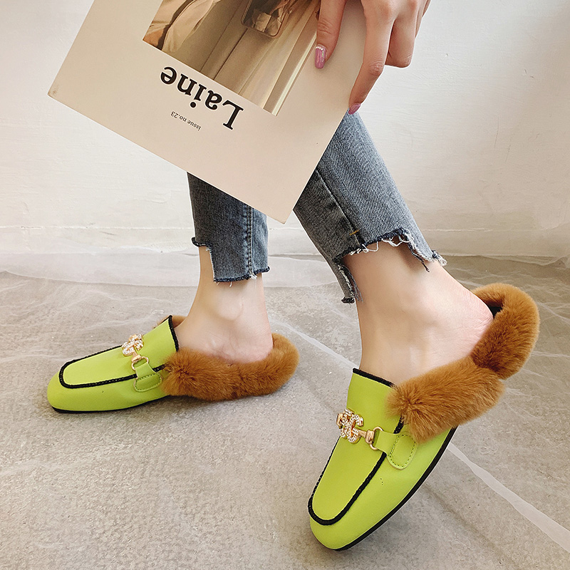 Shoes Woman 2019 Slippers Fur Cover Toe Candy Colors Glitter Slides Fashion Mules Women Low Plush Jelly Square Flat Luxury 39