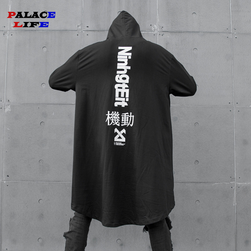 Japanese Men's Hooded Sweatshirt Black Dress Hip Hop Cloak Oversize Hoodie Streetwear Coat Harajuku Style Male Tops