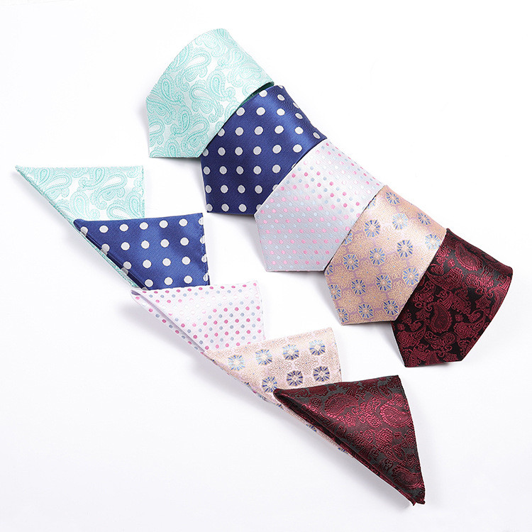 Classic Men Business Formal Wedding Tie Stripe Neck Tie Fashion Shirt Dress Accessories Dacron Pocket Square Set Stripes Series
