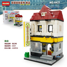 HOT DIY Assemble bricks Architecture retail shop city mini store shopping mall street town model sets building blocks kids toys hsanhe new street store plastic building blocks mini shop architecture dinosaur museum educational brinquedos for kids xmas gift