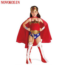 2019 Anime Costumes Cosplay Superman Clothes Swimsuit Faux Leather Jumpsuit Cloak S-XL Halloween Children Wonder Girl Costume