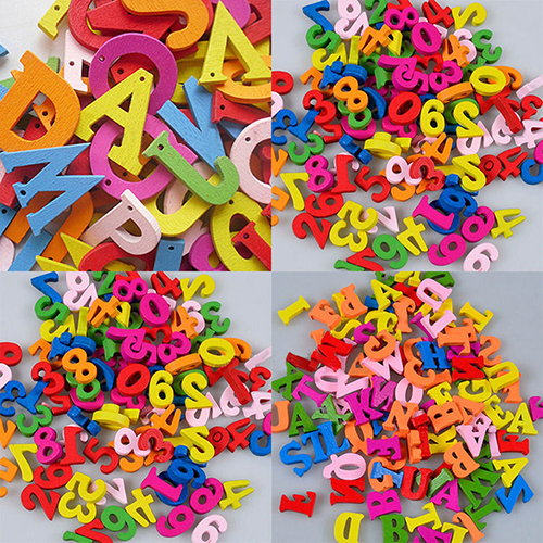 NEW DIY  100 Pcs Colorful Letters Numbers Wooden Flatback Trims Crafts Tool(for Wall Cloth And Gift, Sewing, Scrapbooking, Hair