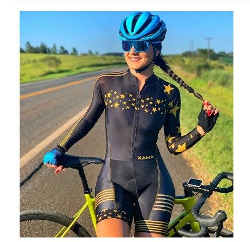 2020 ciclismo das mulheres manga longa ciclismo skinsuit macacão bodysuit trajes mujer gel conjunto bicicleta pro equipe de corrida roupas 2