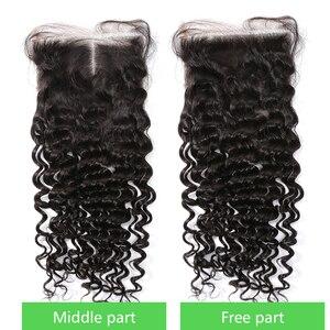 Волнистые бразильские волосы, пучки с закрыванием, 3, 4 пучка, волнистые, 28, 30, 40 дюймов