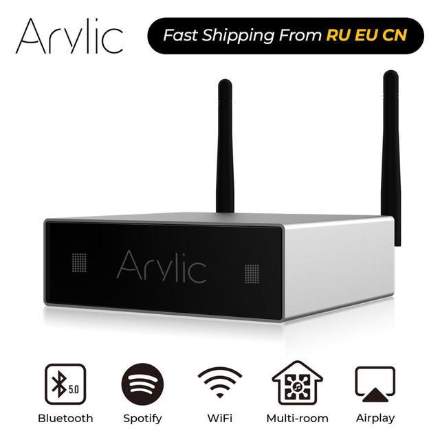 Домашний мини усилитель Arylic A50, Wi Fi и Bluetooth, Hi Fi, стерео, класс D, цифровой мультикомнатный усилитель с эквалайзером Spotify Airplay, бесплатное приложение