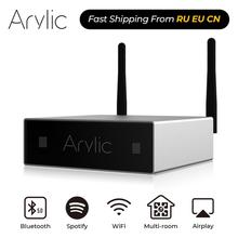 Arylic miniamplificador digital A50 HiFi estéreo con Bluetooth, amplificador de multihabitación, Clase D, con ecualizador de Spotify Airplay, aplicación gratuita
