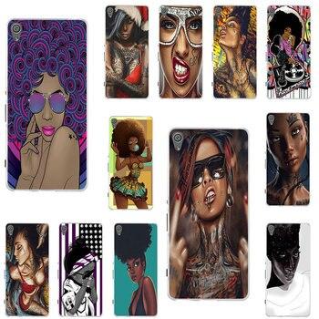 Para Sony Xperia E3 E5 M2 M4 M5 T3 X XA1 XZ Z Z1 Z2 Z3 Z4 Z5 fundas compactas de silicona suave para teléfono para mujeres negras Afro
