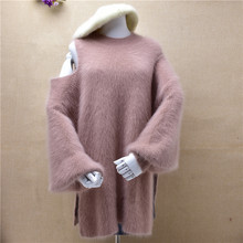 ladies women fashion sexy shoulder off mink cashmere knitted o-neck long lantern sleeved loose pullover angora fur jmper sweater(China)