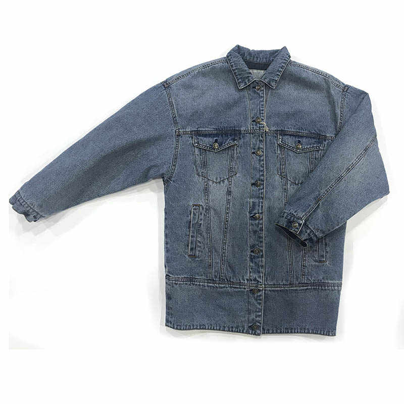 Autumn Winter Women Denim Fancy Jacket Slim Long Sleeve Splice Weave 100% Cotton Snow Blue Female Lady Coat