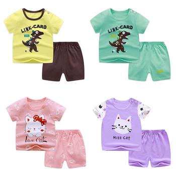 Zestaw z krótkim rękawem dla dzieci bawełniane dziewczyny chłopcy letnie ubrania dla dzieci zestawy dla dzieci T-shirt dla dzieci 2021 tanie rzeczy dinozaur dla 0-6Y tanie i dobre opinie COTTON W wieku 0-6m 7-12m 13-24m 25-36m CN (pochodzenie) Dziecko dla obu płci moda Z okrągłym kołnierzykiem Guzik obleczony