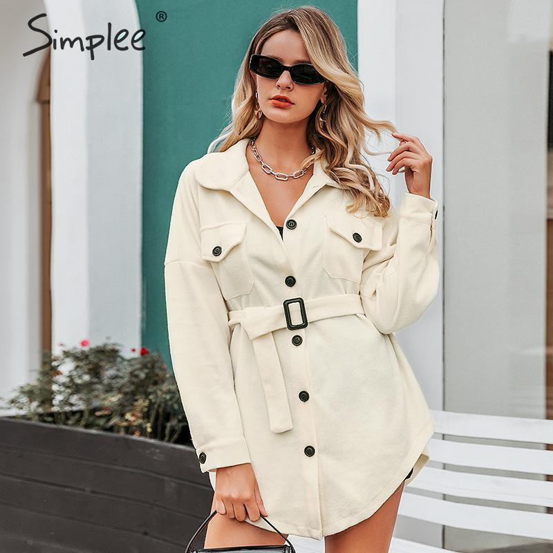 Simplee Casual Oversize Women Long Coat Pockets Sash Autumn Winter Female Soft Coat Elegant Loose Office Ladies Overcoats 2019