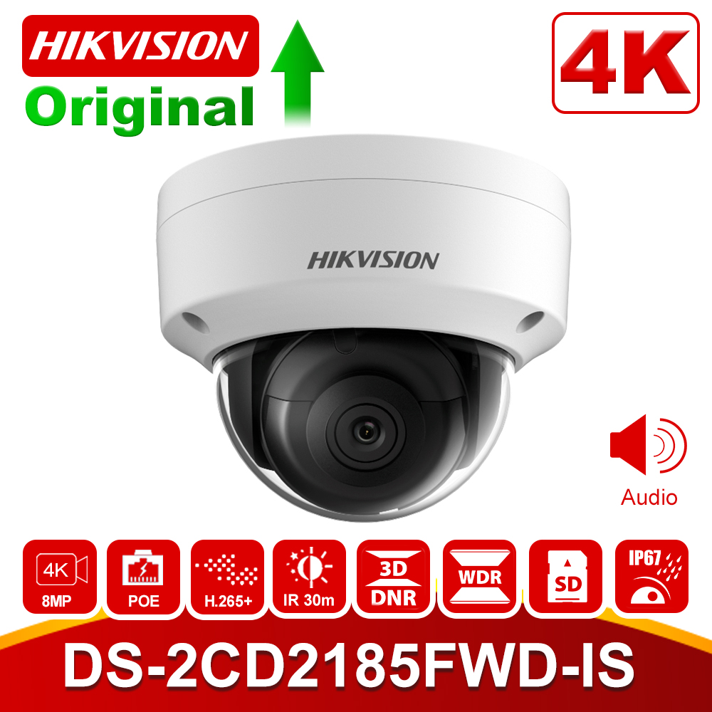 In Stock Hikvision 8MP POE IP Camera DS-2CD2185FWD-IS Outdoor 4K Security Dome Camera H.265 Built-in Audio Interface SD Clot