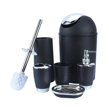6Pcs/Set Toothbrush Holder  Mouthwash Cup Soap Dish Waterproof Waste Bin Toilet Brush Clean Bathroom Accessories