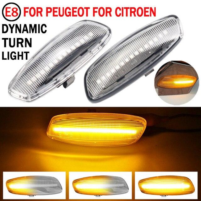 2 adet akan dönüş sinyal ışığı dinamik LED yan işaretleyici yan göstergesi Peugeot 5008 2009 2017 için