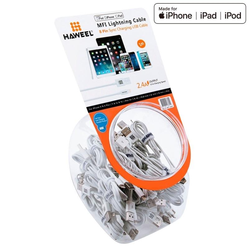 35 pièces HAWEEL 1m MFI 8 broches USB synchronisation des données charge pour iPhone X, iPhone 8, iPhone 7 et 7 Plus, iPhone 6 et 6 s, iPhone 6 Plus et 6s Plus, iPhone 5 & 5s & 5C, iPad Air, iPad mini besoin d'autres marchandises en gros peut envoyer le ...