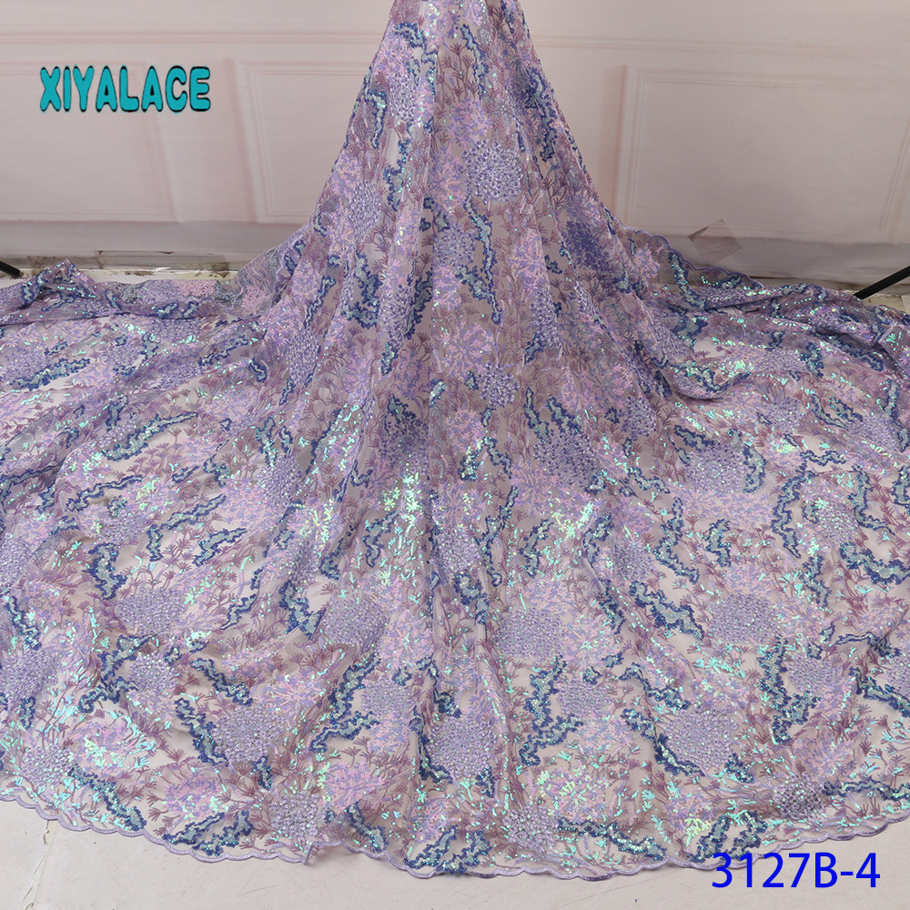 2019 High Quality Lace Fabric African Lace Fabric Switzerland Lace Sequins Lace Fabrics French Bridal Lace For Dress YA3127B-4