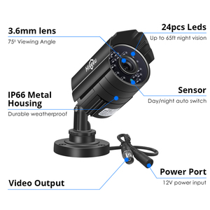 Image 5 - Hiseeu cámara de vigilancia AHD de 5MP 1080P, videocámara CCTV exterior impermeable de Metal, cámara de seguridad para exteriores, bala para sistema CCTV DVR