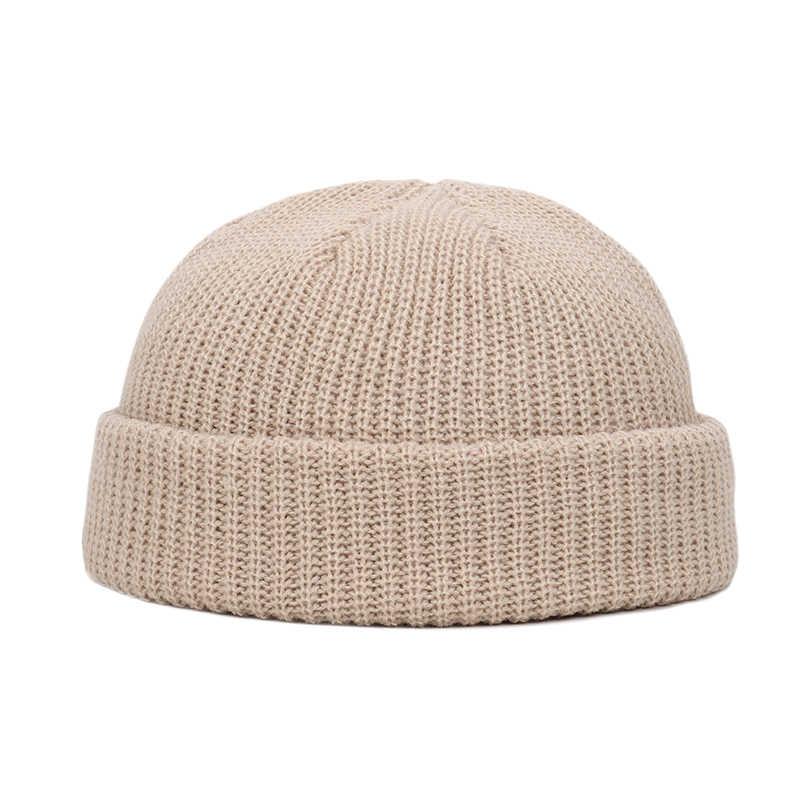 Inverno retro malha boné de marinheiro cor sólida brimless chapéus hip hop gorro skullcap rua feminino masculino casual unisex melão boné