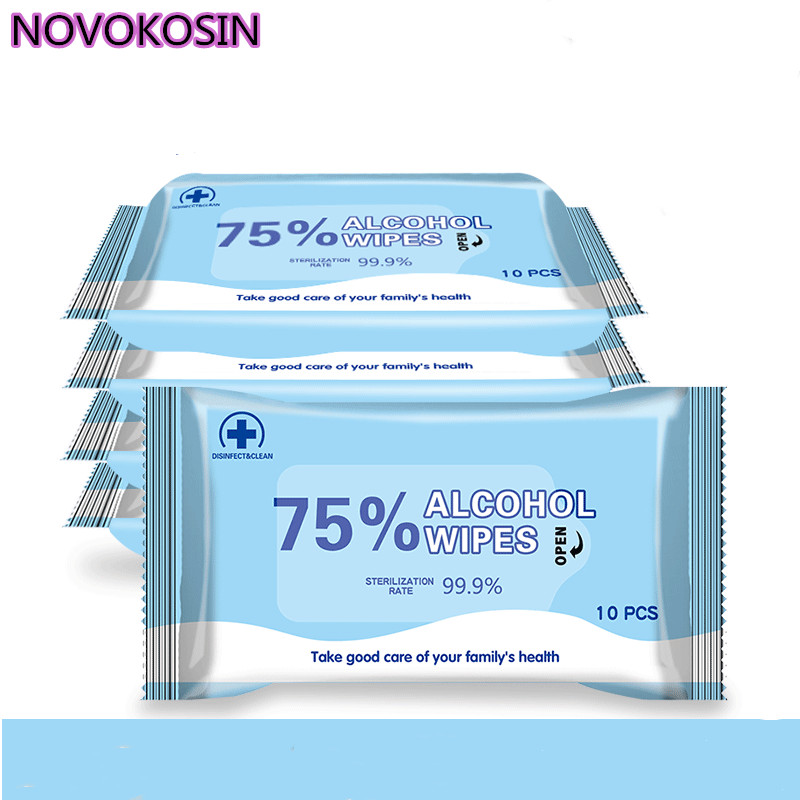 10pcs Portable Disinfection Antiseptic Pads 75% Alcohol Swabs Wet Wipes Skin Cleaning Care Sterilization Aid Cleaning Tissue Bag