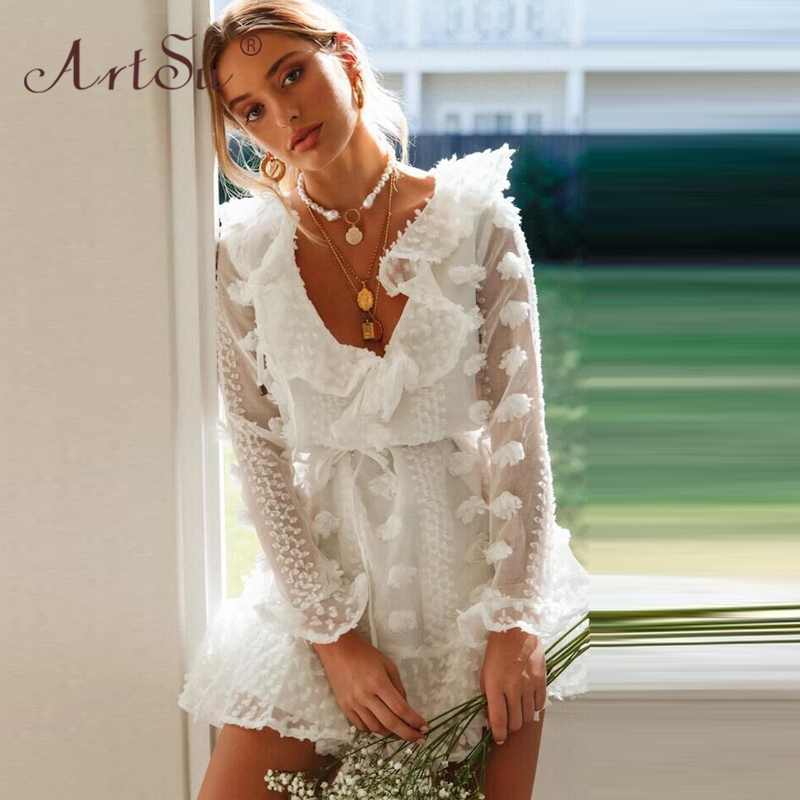 ArtSu Elegant Flower Embroidery Lace Dress Women Long Sleeve Spring Sexy V-Neck Ruffles Party Dress Female Lace Up White Dress