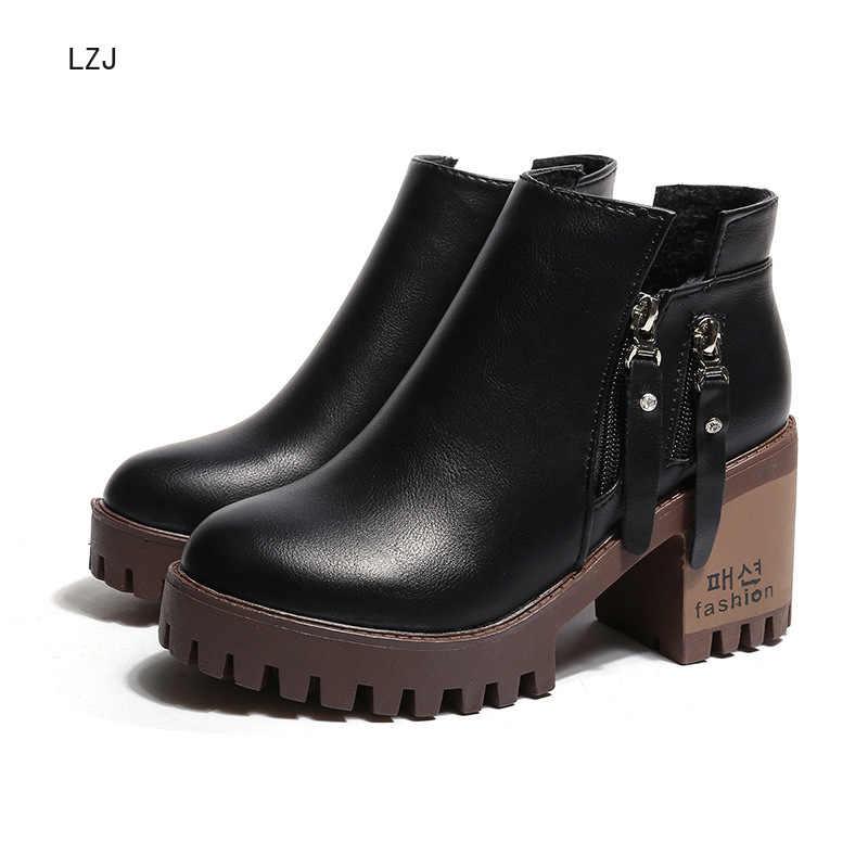LZJ 2019 sonbahar kış kısa çizmeler kadın tek çizme yan fermuar yüksek topuk Martin çizmeler yuvarlak baş kalın topuk su geçirmez botlar