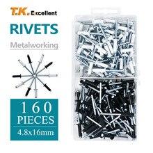 Pop it kit blind rivet metal Rivets, 4.8*16 aluminum rivets, 160pcs rivets, black and white spray paint black rivet
