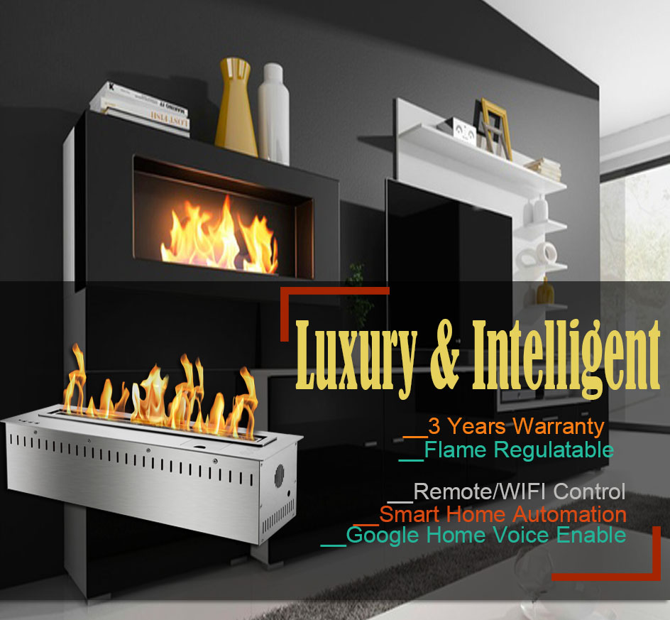 Hot Sale 30 Inches Silver Or Black Wifi Intelligent Smart Bioethanol Fireplace Insert Burner