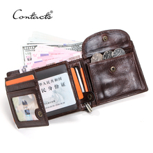 CONTACT'S 100% Genuine Leather Men Wallet Short Coin Purse Anti-theft Chain Design ID Card Holder Pocket Male Wallets Carteira