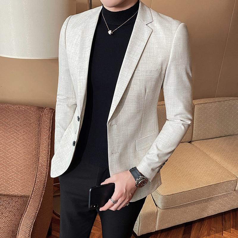 High Quality Mens Slim Fit Blazer Business Casual Blazer Suit Jacket Spring Luxury Beige Club DJ Stage Clothers Terno Masculino