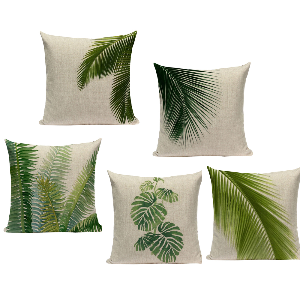 Tropical Plants Palm Tree Printed Decorative Throw Pillow Cushion Cover  Case Green Leaf Leaves Cushion Case For Sofa Home