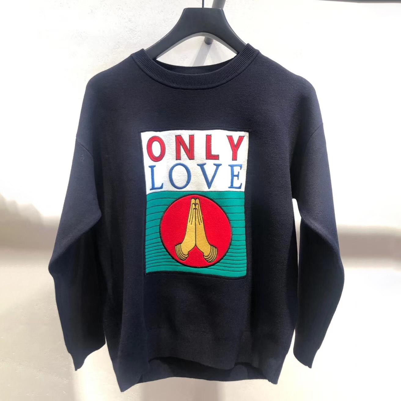 Женский свитер, весна-лето 2020, повседневный Свободный пуловер с круглым вырезом и надписью, Женский вязаный свитер