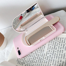 Makeup Mirror With Comb Simple Candy Color Phone Case For