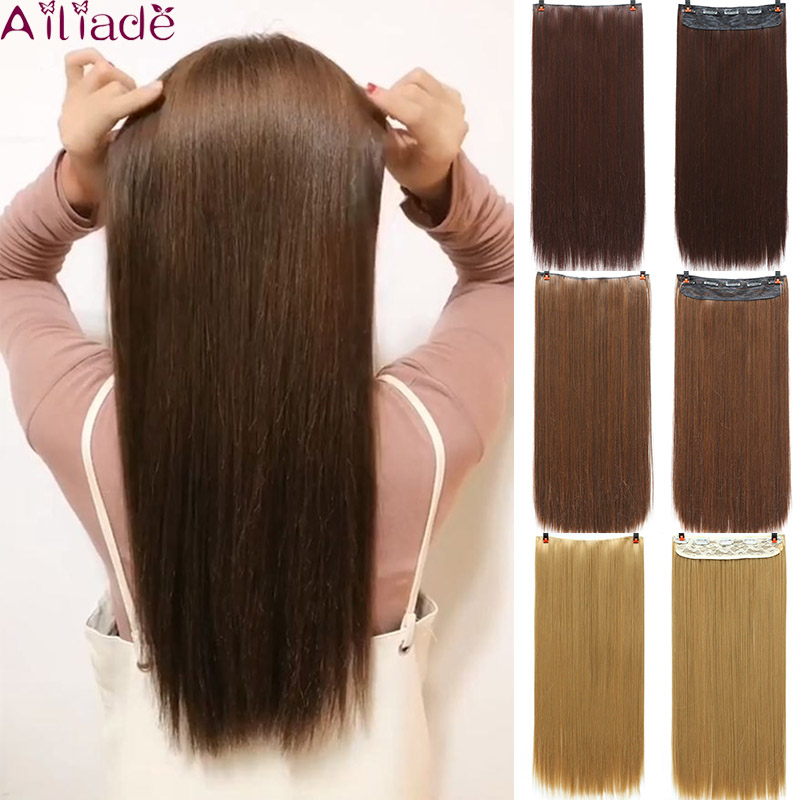 AILIADE Long Straight 5 Clip In One Piece Hair Extensions Black Brown Natural High Tempreture Synthetic Women Hairpieces