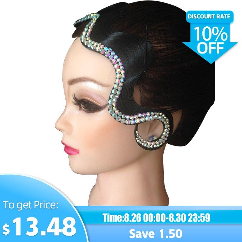 Ballroom Dance Accessories Headpiece Imitation Diamond Waltz Tango Headgear Contest Performance Dancewear For Women