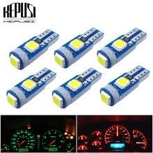 Luz LED Interior para coche T5 W1.2W 27 74 86 206, luz de cuña lateral, T5, bombillas para instrumentos de tablero, 3SMD 3030, 6 uds.