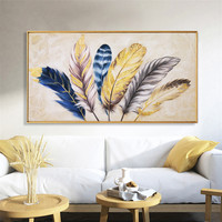 Golden feather modern abstract canvas painting home living room bedroom decoration wall painting works