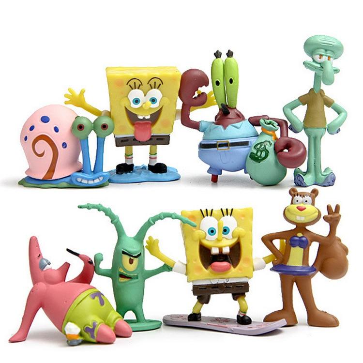 Cartoon SpongeBob Figure Set Patrick Star Squidward Tentacles Captain Crabs Plankton Model Doll Toys For Children