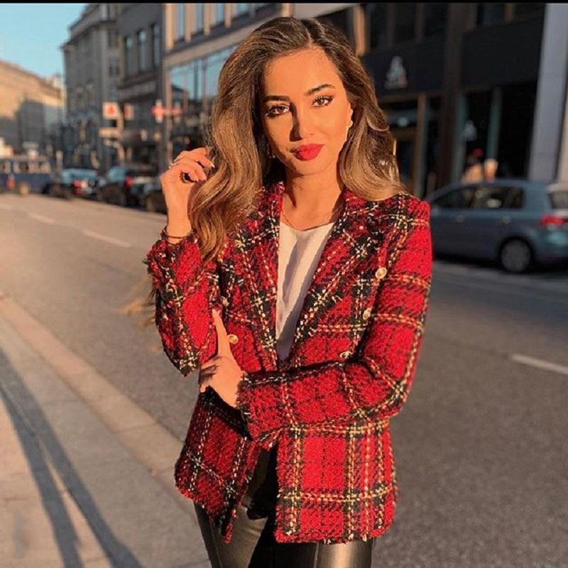 Vintage Za Fashion Women Double Breasted Tweed Jacket Stylish Turn-Down Collar Jackets Elegant Ladies Plaid Long Sleeve Coats