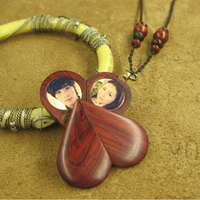 The Illusionist Locket Necklace Pendant Picture Necklace Photo Locket Lover's Heart Locket Birthday Gift Natural Wood