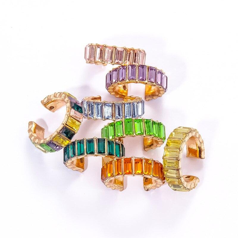 2020 Multicolor CZ Crystal Cartilage Stud Earrings for Women Earcuffs No Pierced Stackable CC Shaped Ear Clips Ear Cuff Earrings