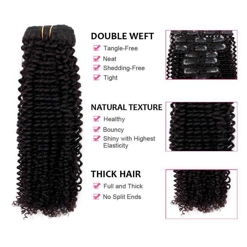 Afro Kinky Krullend Clip In Human Hair Extensions Maleisische Clip-Ins Volledige Hoofd 8 Stks/set 120G Remy Haar mi Lisa Nautral Kleur 3B 3C