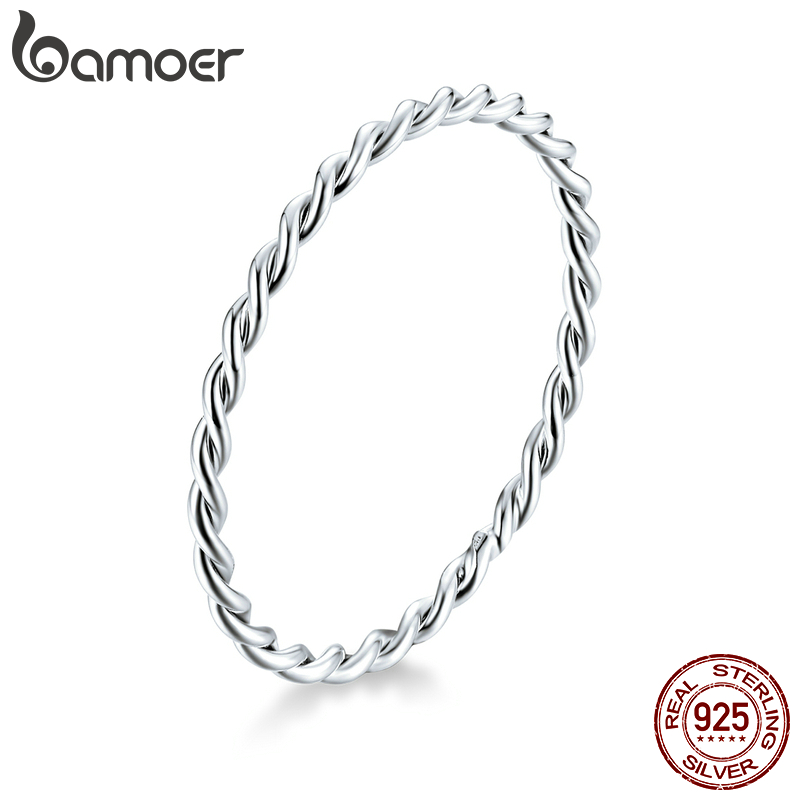 bamoer Twisted Minimalist Finger Rings for Women 925 Sterling Silver Hypoallergenic Jewelry Gift Female Slim Ring SCR640
