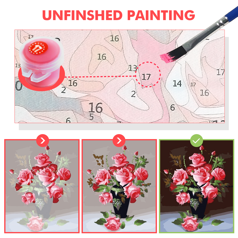 HUACAN Paint By Number Flower HandPainted DIY Gift Kit Drawing On Canvas Oil Painting Picture Wall Art Home Decoration